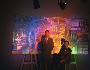 Bel-Jon and Christopher with mural under colored lights