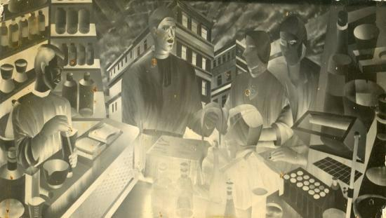 St. Francis Hospital Mural - Brushed Aluminum by Bel-Jon (also signed by Don Clever)
